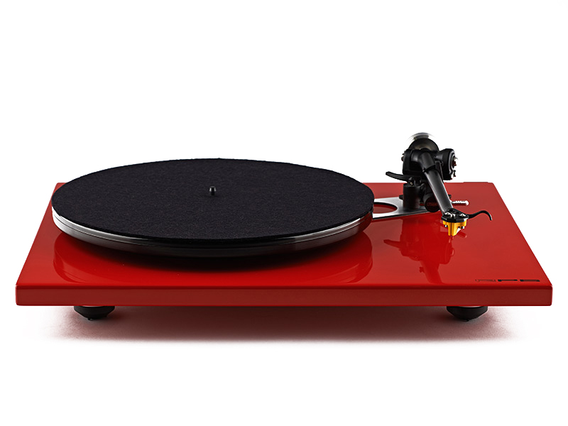 The RP6 turntable in red shown without mat or lid.